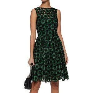 Dolce & Gabbana green floral-appliqué lace dress
